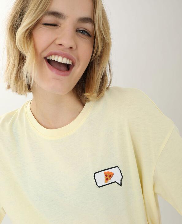 T-shirt met borduursel geel