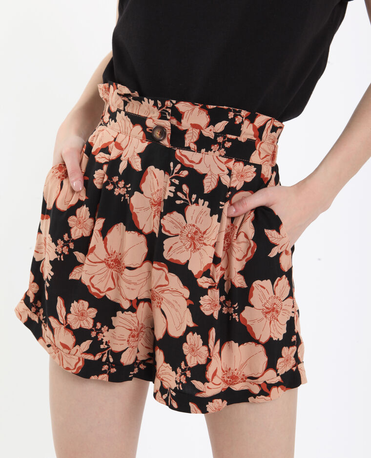 Short met bloemenprint zwart