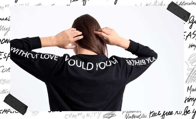 Sweater met opschrift zwart