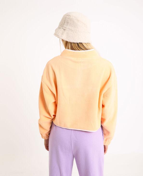 Fleece sweater met rits Perzik