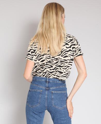 T-shirt met zebraprint Beige