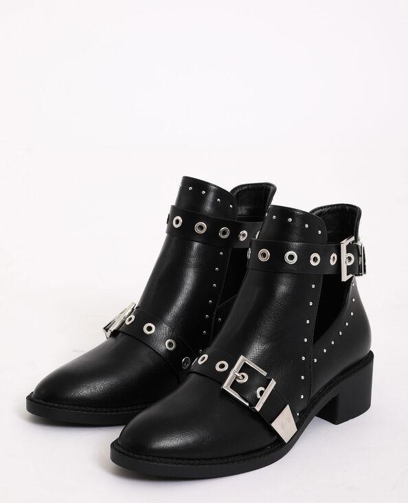 Platte, halfopen laarzen zwart