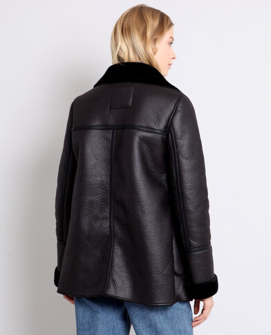 Manteau imitation mouton noir
