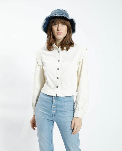 Cropped fluwelen hemd wit - Pimkie