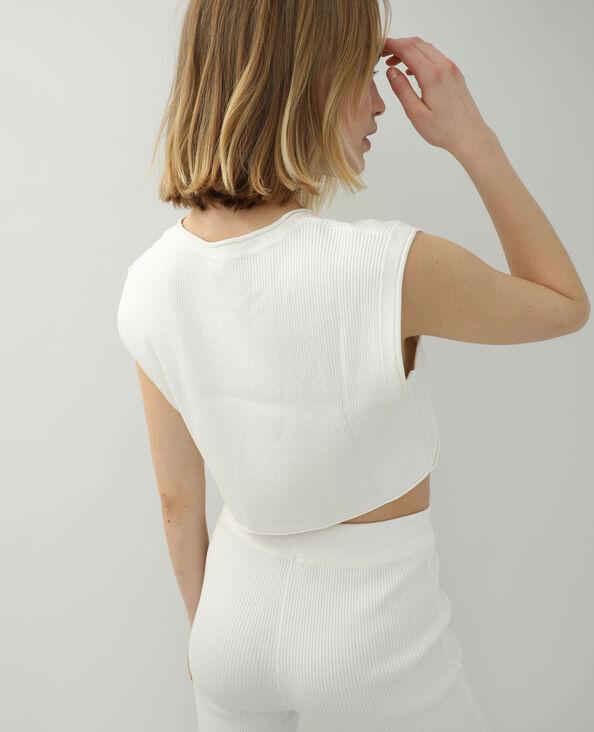 T-shirt van tricot gebroken wit - Pimkie