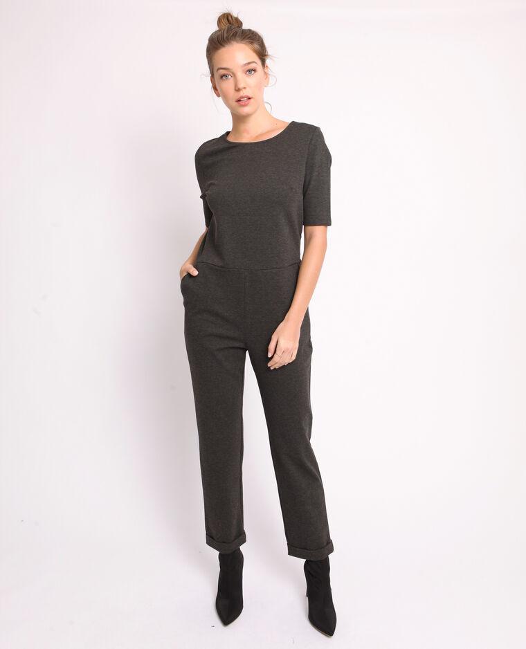 Combi-pantalon à manches courtes gris chiné