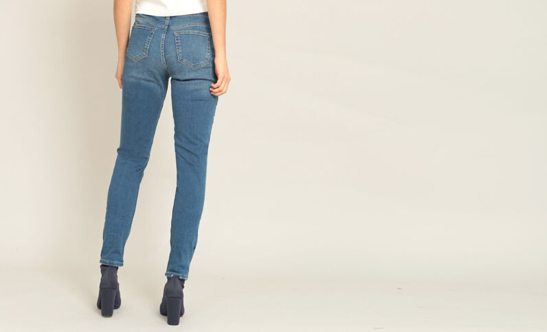 Destroyed skinny jeans blauw