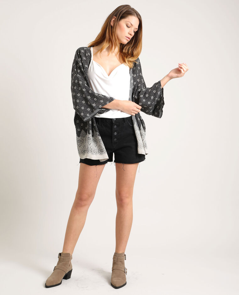 Kimono imprimé noir