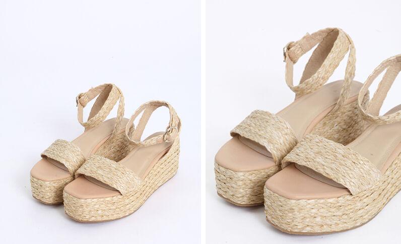 Sandalen met plateauzool geweven beige
