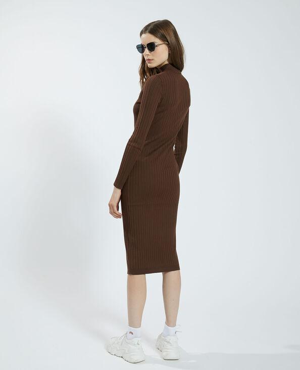 Robe pull côtelée marron - Pimkie