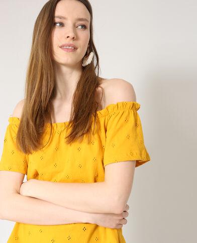 Shirt met borduursels geel