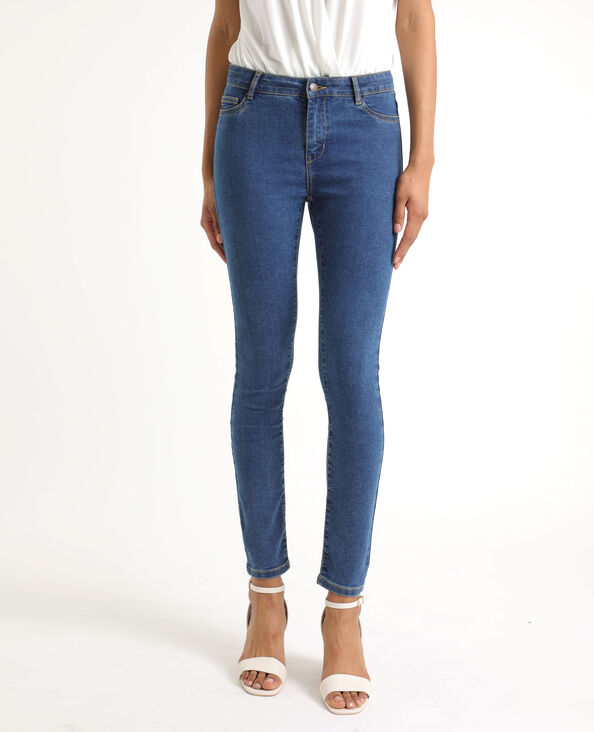 Skinny jeans met middelhoge taille donkerblauw