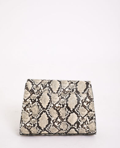 Tas met pythonprint geweven beige