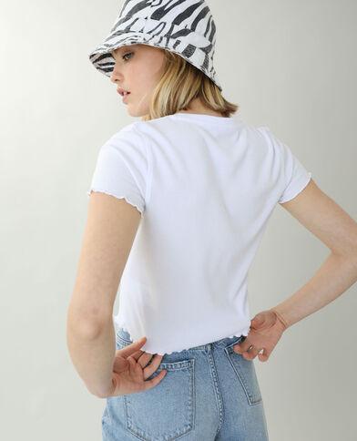 T-shirt van ribstof met ruche wit