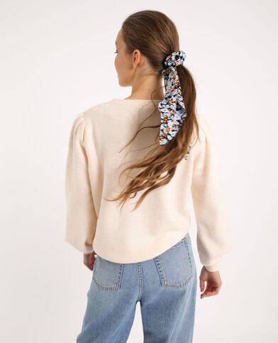 Pull manches bouffantes beige