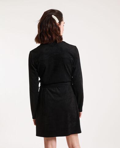 Robe chemise suédine noir
