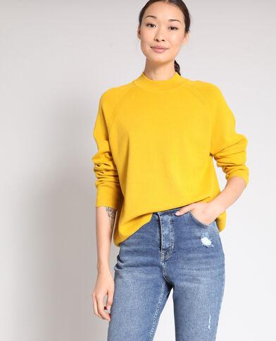 Trui met opstaande kraag geel
