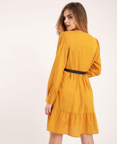 Robe à col V jaune moutarde