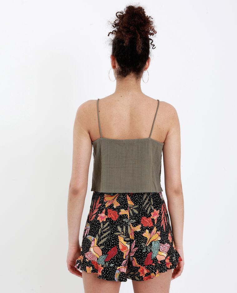 Crop top met dunne schouderbandjes groen