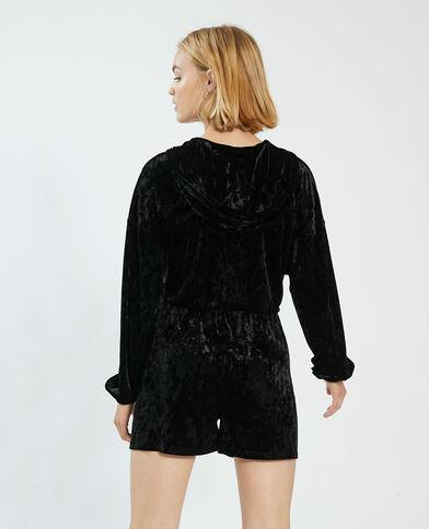 Robe à capuche en velours noir - Pimkie