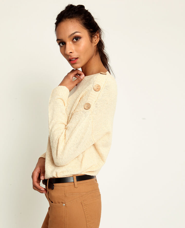 Pull boutonné beige
