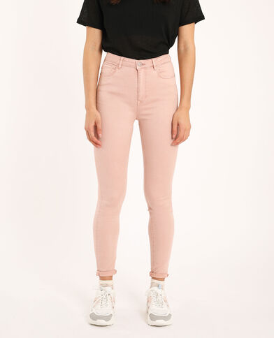 Pantalon skinny high waist rose