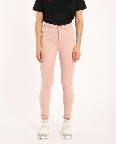 Skinny broek met hoge taille roze
