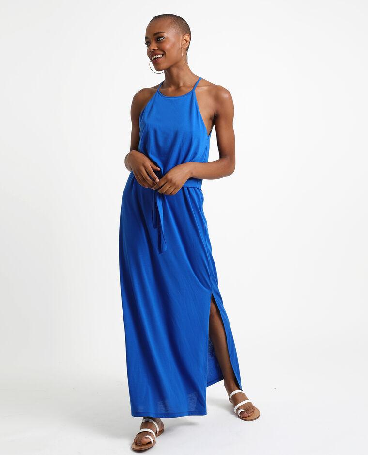 Geknoopte lange jurk blauw
