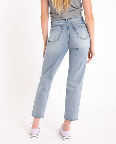 Straight-fit jeans met hoge taille verwassen blauw
