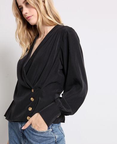 Gekruiste blouse zwart