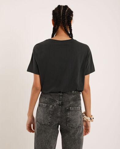 T-shirt met parels antracietgrijs