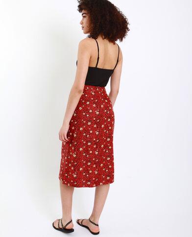 Halflange rok met luipaardprint kastanjebruin