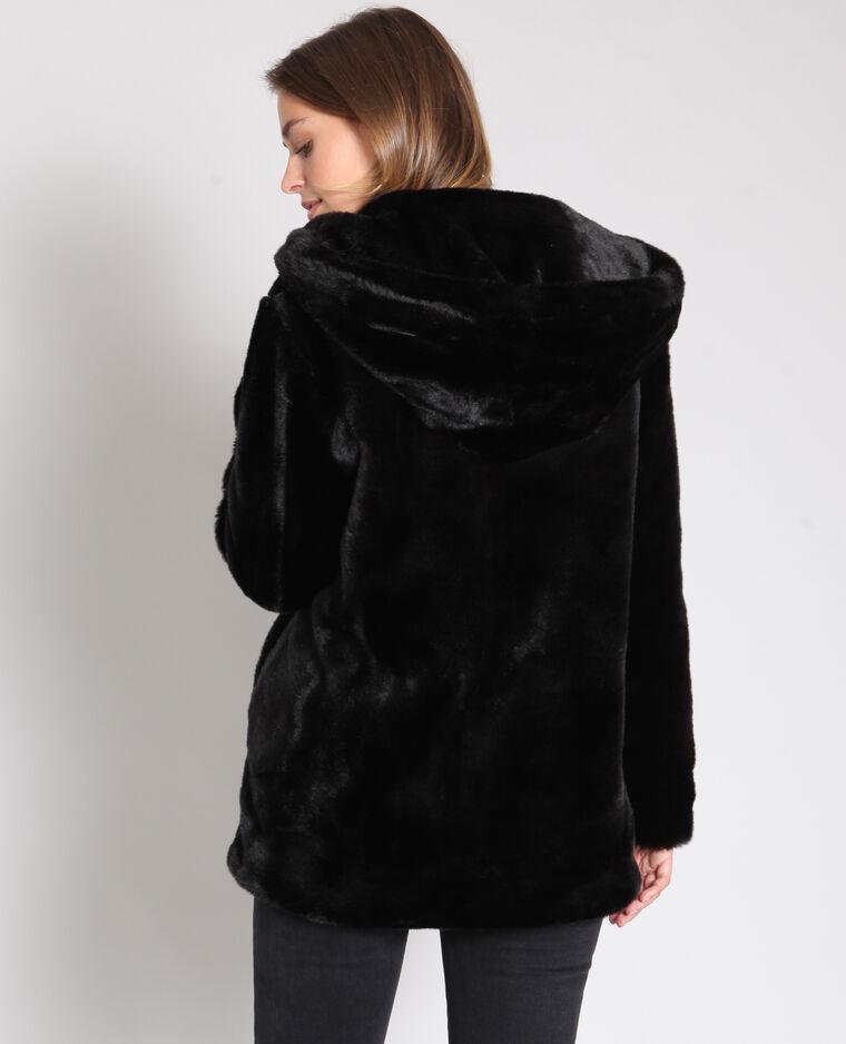 Veste en fausse fourrure noir
