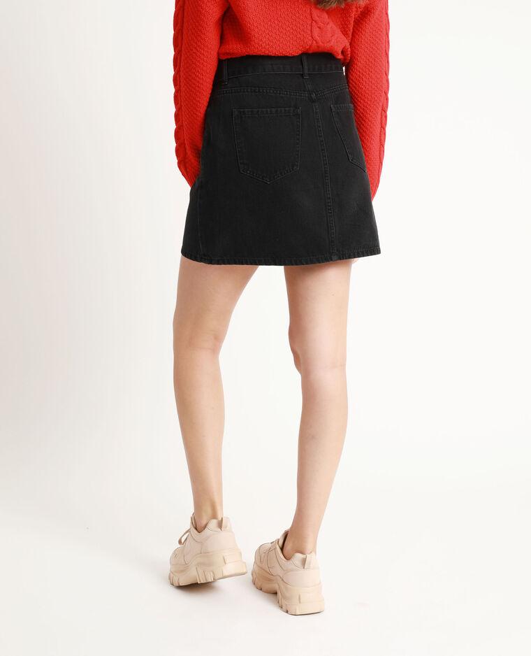 Jupe en jean ceinturée noir - Pimkie
