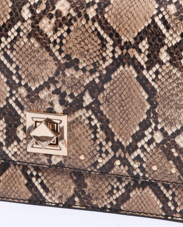 Tasje met pythonprint kastanjebruin