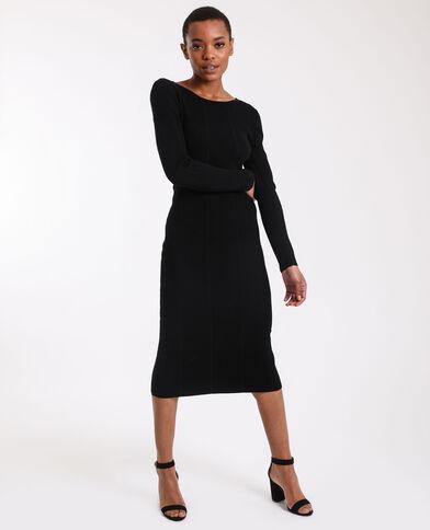 Lange jurk van tricot zwart