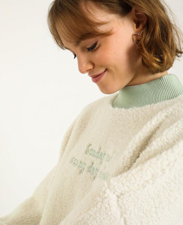 Sweater met schapenvachteffect gebroken wit