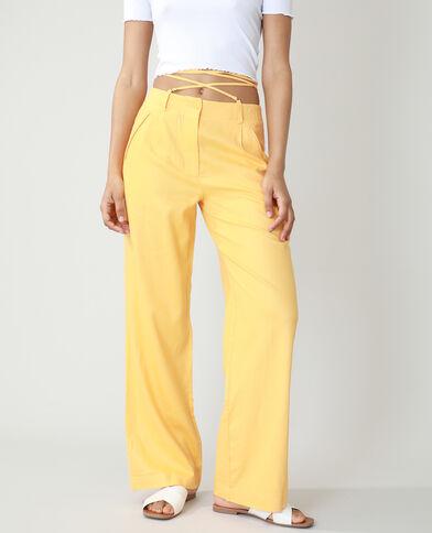 Wide leg broek met hoge taille oranje - Pimkie