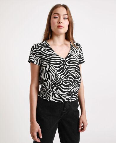 Blouse met zebraprint zwart
