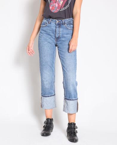 Rechte jeans met omslag blauw
