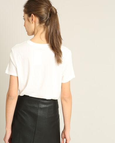 T-shirt brodé blanc cassé