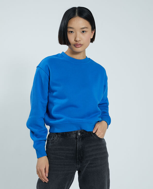 Sweater van molton blauw - Pimkie