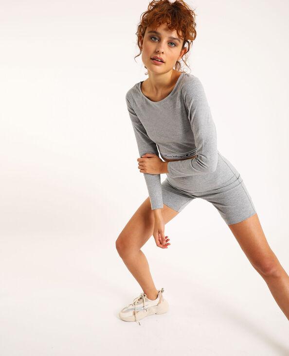 Loungewear cropped top gemêleerd grijs