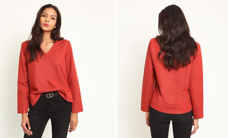 Sweater met V-hals rood