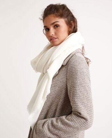 Sjaal met franjes aan de uiteinden gebroken wit