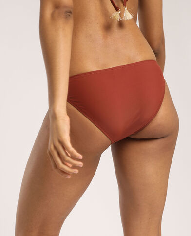 Bas de bikini à broderies terracotta