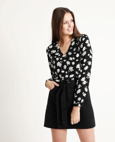 Hemdbody met bloemenprint zwart