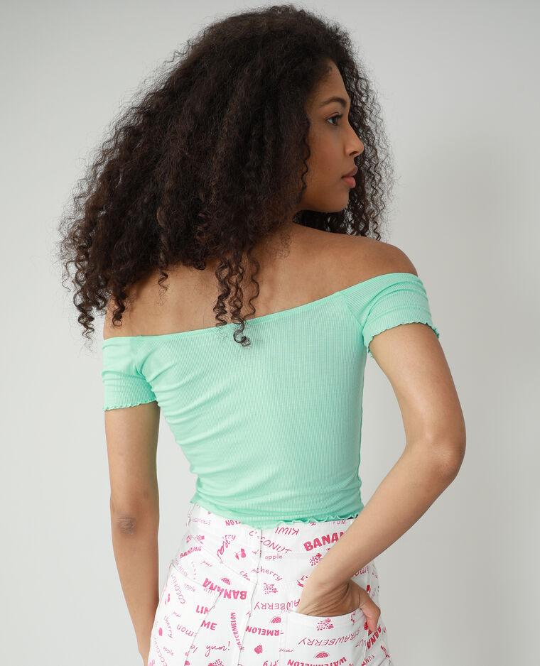 T-shirt roulotté et côtelé Vert d'eau - Pimkie