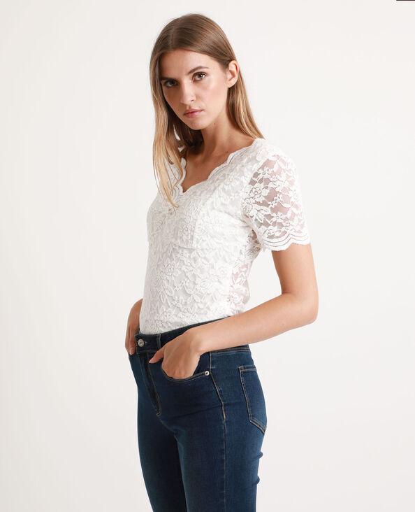 T-shirt van kant gebroken wit
