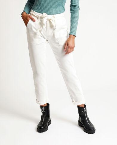 Rechte broek met hoge taille ecru